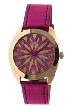 Boum Etoile Glitter-Dial Leather-Band Ladies Watch - Gold/Pink