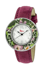 Boum Bouquet Floral-Ring Leather-Band Ladies Watch - Pink