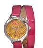 Boum Confetti Glitter-Dial Dual-Wrap Ladies Watch - Hot Pink