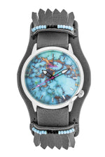 Boum Originaire Marbleizied-Dial Leather-Band Watch w/ Fringed Sheath - Silver/Charcoal