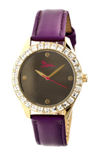 Boum Chic Quartz Purple Genuine Leather Gold Women's Watch