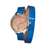 Boum Confetti Glitter-Dial Dual-Wrap Ladies Watch - Blue