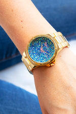Boum Cachet Crystal-Dial Ladies Bracelet Watch - Gold/Blue