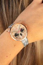 Boum Sagesse Owl-Accented Leather-Band Watch - Rose Gold/Multi-Colored