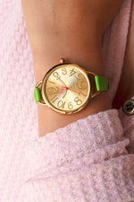 Boum Cirque Sunray Dial Leather-Band Watch - Gold/Green