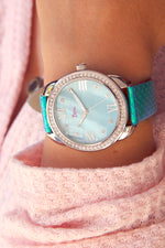 Boum Forte Crystal-Bezel Leather-Band Ladies Watch - Silver/Cerulean