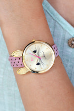 Boum Hotesse Bunny-Accent Leather-Band Watch - Gold/Pink