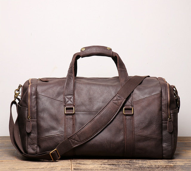 Frosted Genuine Leather Travel Bag