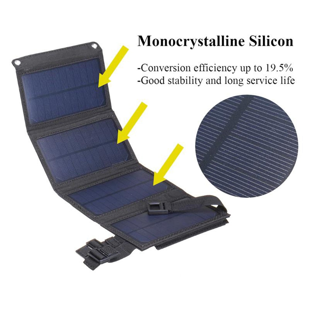 Foldable 20W USB solar powered mobile charger