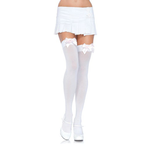 Leg Avenue Nylon Thigh Highs with Bow - White/Red