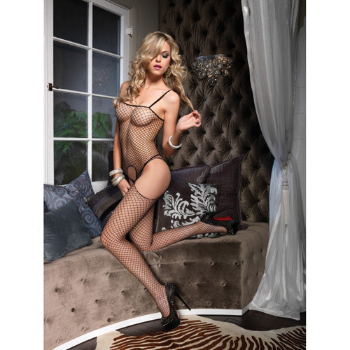 Leg Avenue Seamless Suspender Bodystocking - Lights Off