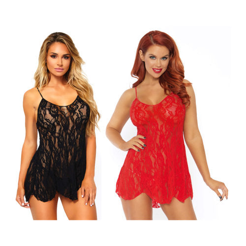 Leg Avenue Rose Lace Flair Chemise - Red