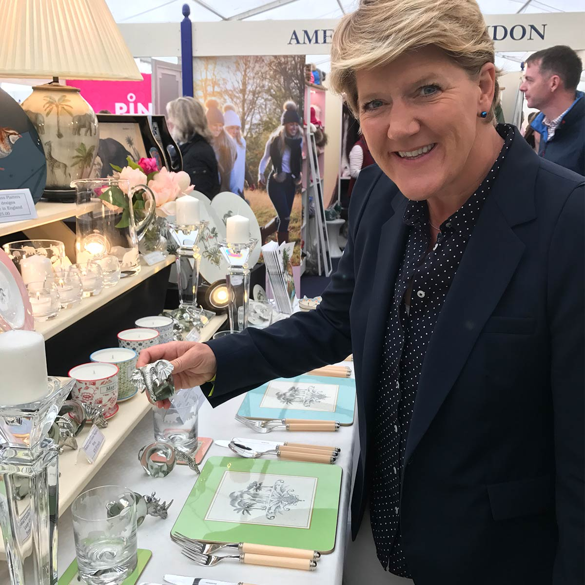Clare Balding chatting with us at our Burghley stand - Club Matters