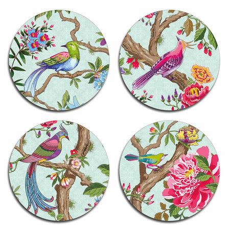 Chinoiserie Birds Coasters  - Bespoke Table Mats and coasters - Tableware  - Club Matters - Round Placemats