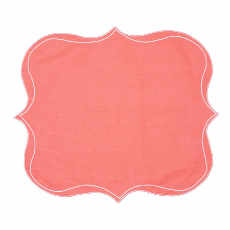 Iona Waxed Italian Linen Placemat - Coral - Club Matters - Italian Linen
