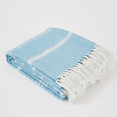 Oxford Stripe Azure Blanket - Blanket - Al Fresco - Club Matters