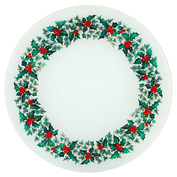 Holly Wreath Glass Platter  - Tableware - Bespoke Tableware - Club Matters