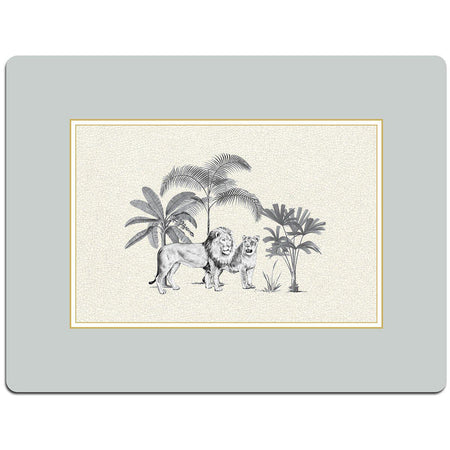 Dove Grey Harlequin Serving Mat - Lion - club matters