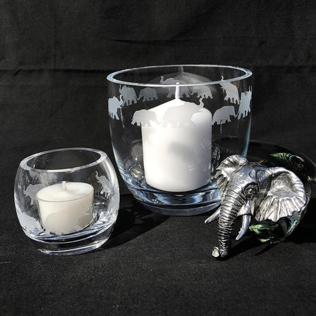 Elephant Engraved Glass Candle Pot - club matters
