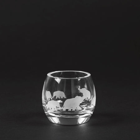 Elephant Engraved Glass Tea Light Votive - club matters