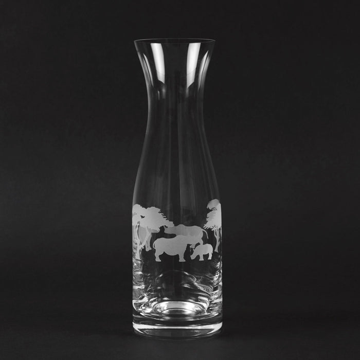 Engraved Glass Carafe - Rhino With Tree Detail - club matters