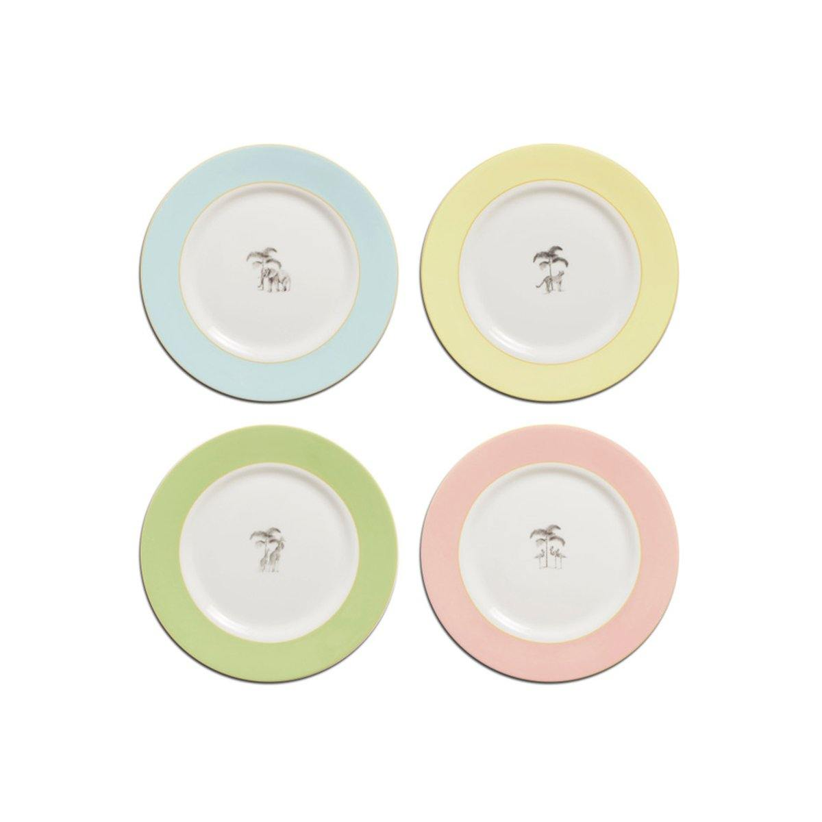 Harlequin Bone China Starter / Dessert Plates - Set of 4 - club matters