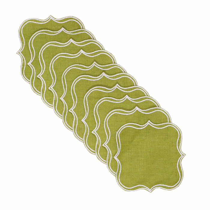 Iona Waxed Italian Linen Coaster - Fern Green - club matters