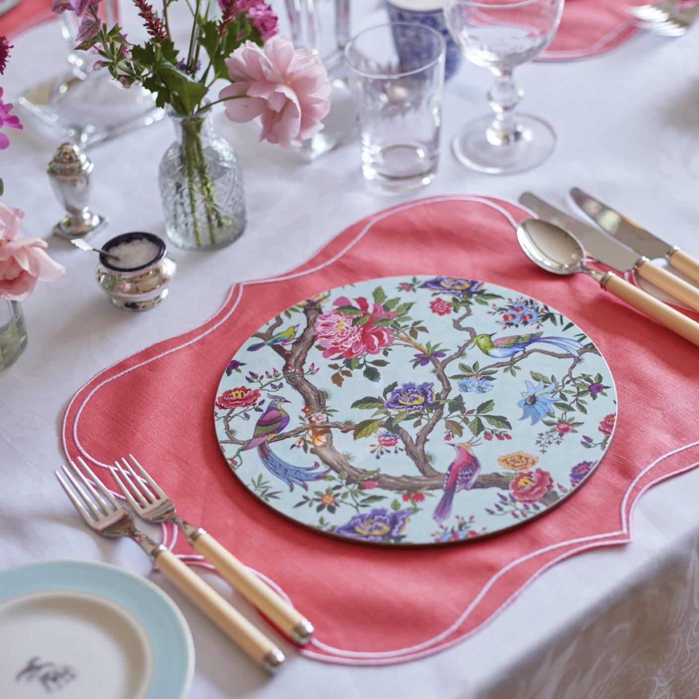 Iona Waxed Italian Linen Placemat - Coral - club matters