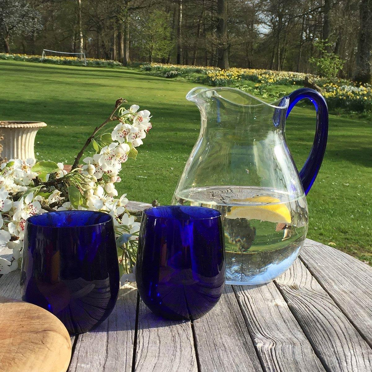 Jug - Clear With Cobalt Blue Handle - club matters