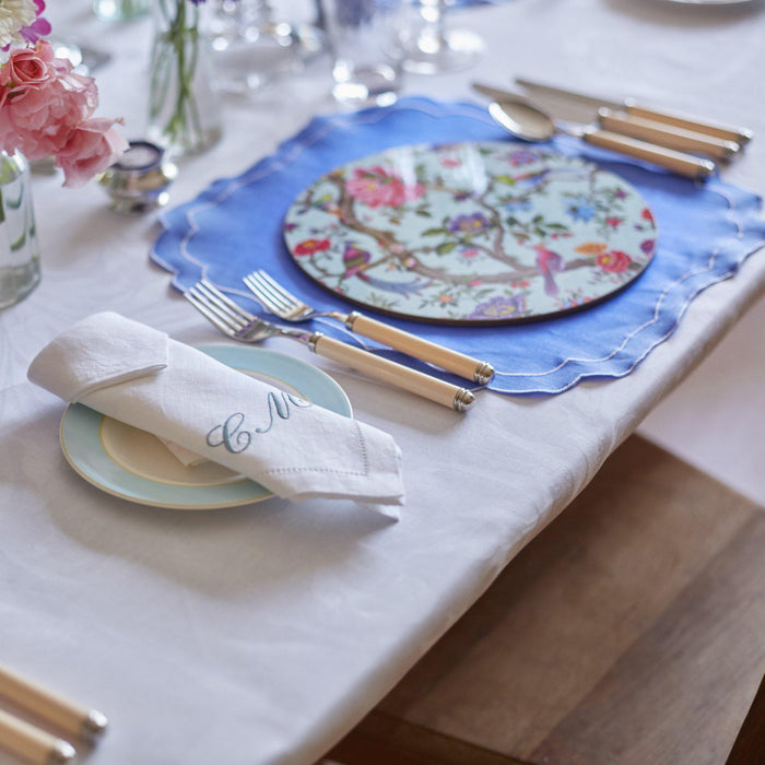 Mull Waxed Italian Linen Placemat - Cornflower Blue - club matters