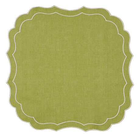 Mull Waxed Italian Linen Placemat - Fern Green - club matters