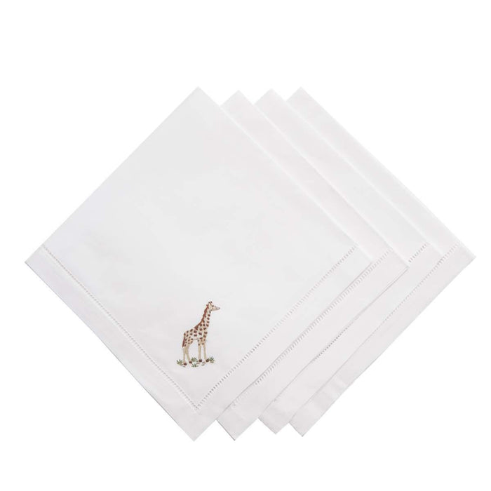 Out of Africa Hand Embroidered Napkins - Set of 4 - club matters