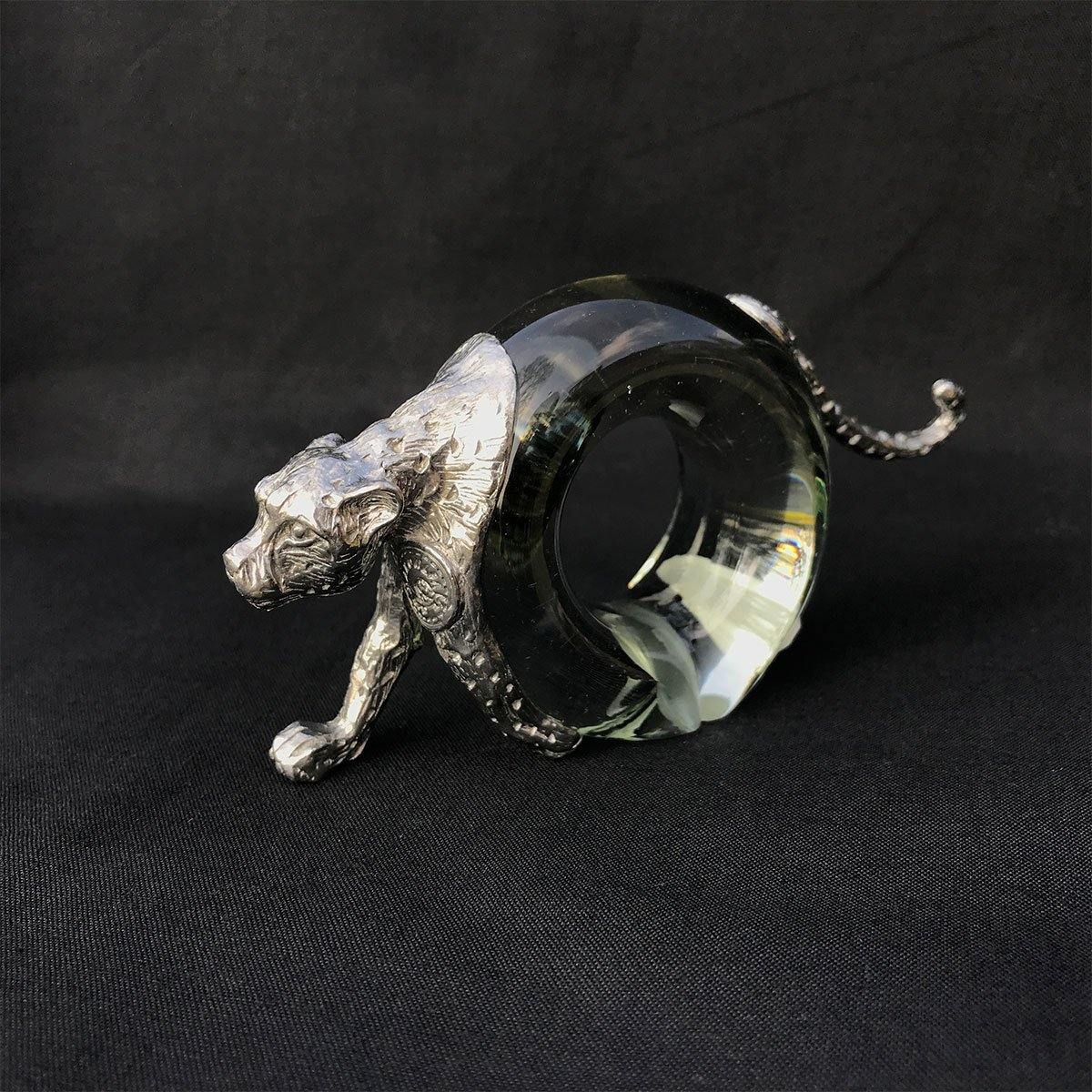 Pewter and Glass Napkin Ring Cheetah - club matters