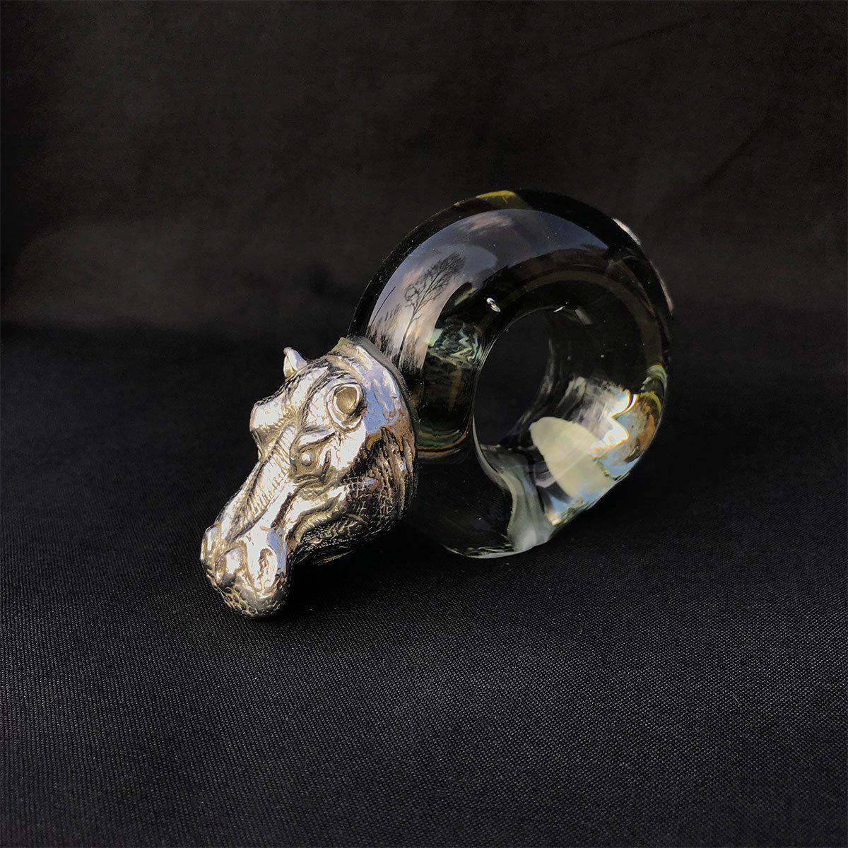 Pewter and Glass Napkin Ring Hippo - club matters