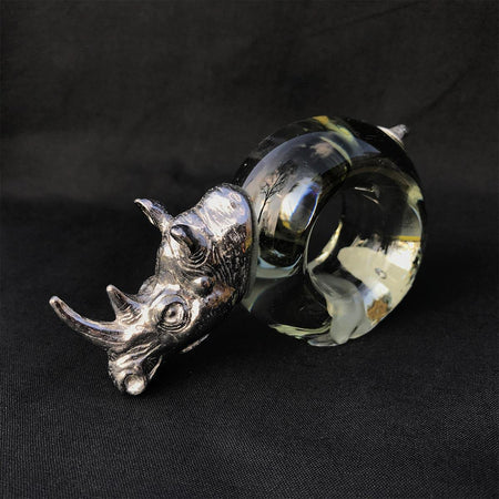 Pewter and Glass Napkin Ring Rhino - club matters