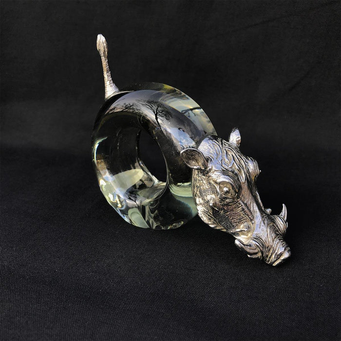 Pewter and Glass Napkin Ring Warthog - club matters