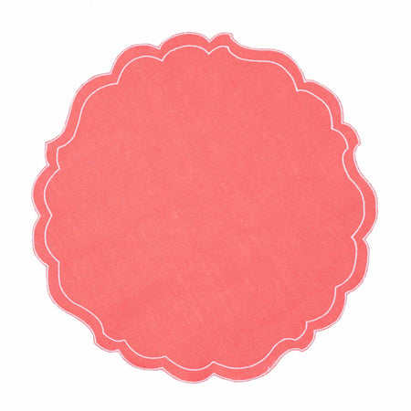Tiree Waxed Italian Linen Placemat - Coral - club matters