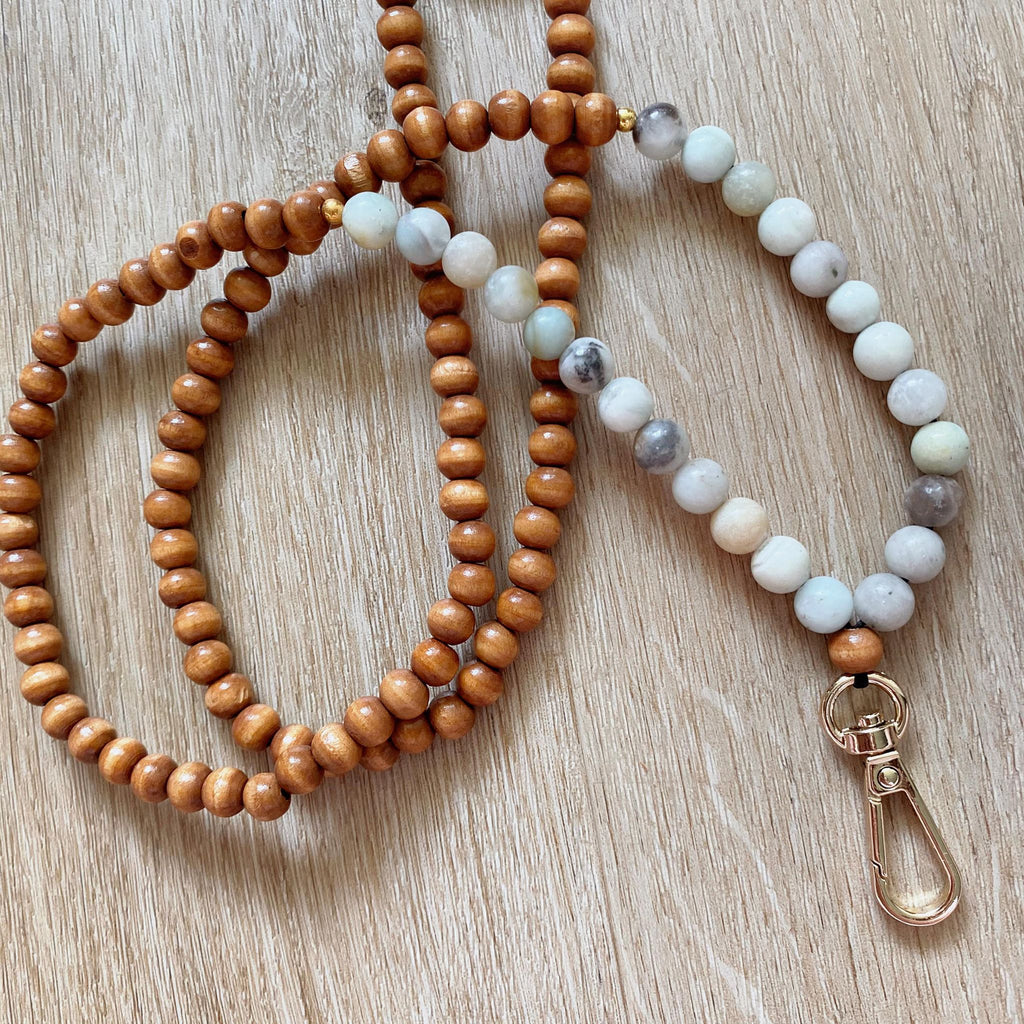wooden beaded lanyards with natural crystal amazontite beads