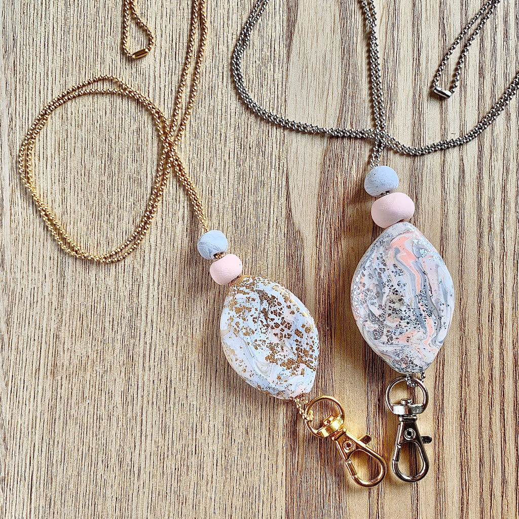 handmade polymer clay pendant lanyard on a thin chain, crystal look, glitter shine gold, gemstone precious stone neutral design
