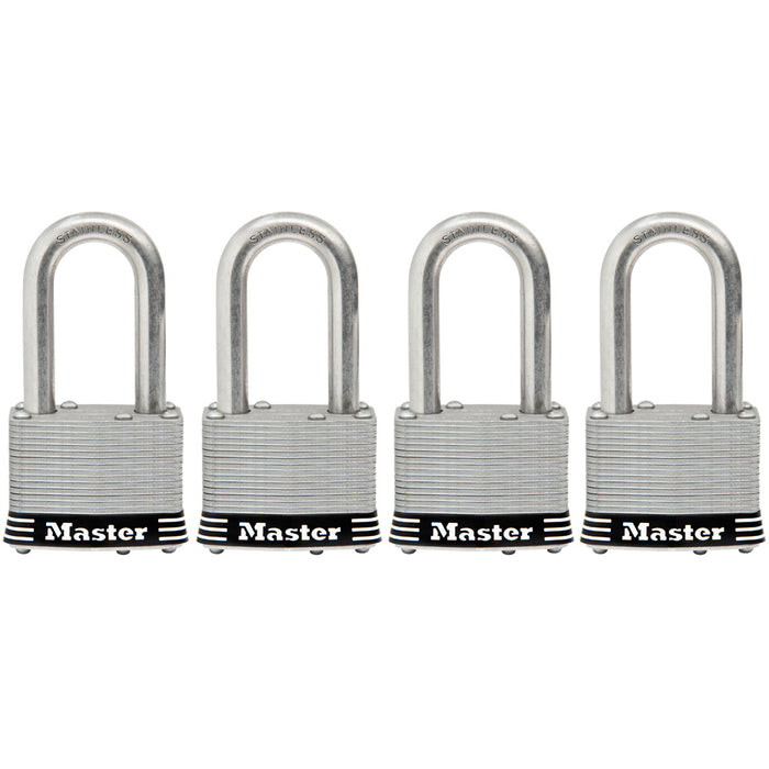 Master Lock 1SSQ 1-3/4in (44mm) Wide Laminated Stainless Steel Padlock with 1-1/2in (38mm) Shackle; 4 pack-Keyed-MasterLocks.com