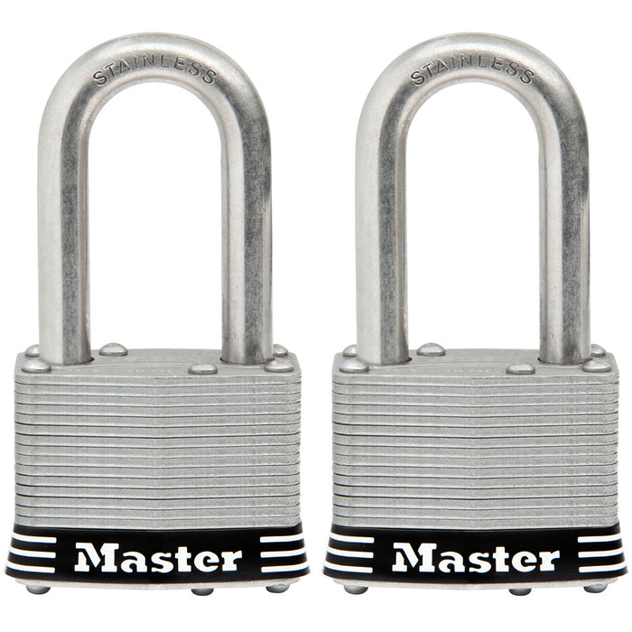 Master Lock 1SST 1-3/4in (44mm) Wide Laminated Stainless Steel Padlock with 1-1/2in (38mm) Shackle; 2 pack-Keyed-MasterLocks.com