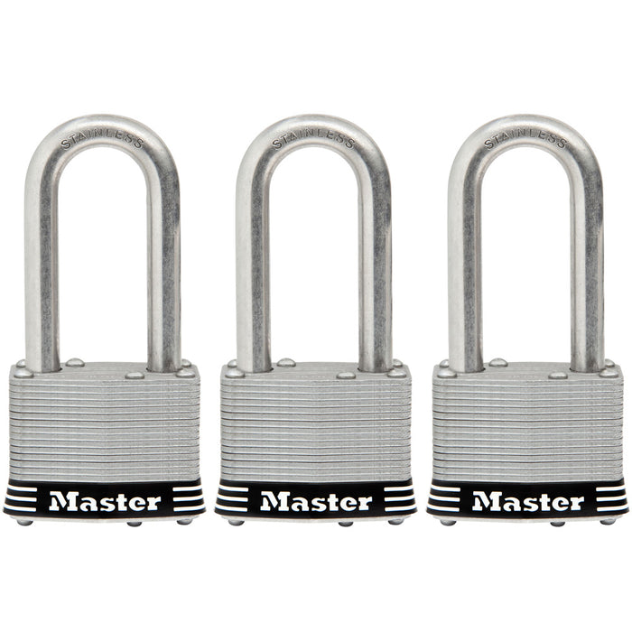 Master Lock 1SSTRI 1-3/4in (44mm) Wide Laminated Stainless Steel Padlock with 2in (51mm) Shackle; 3 Pack