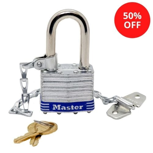 Master Lock 1KALFCNBLU Laminated Steel Padlock 1-3/4in (44mm) Wide with Sash Chain