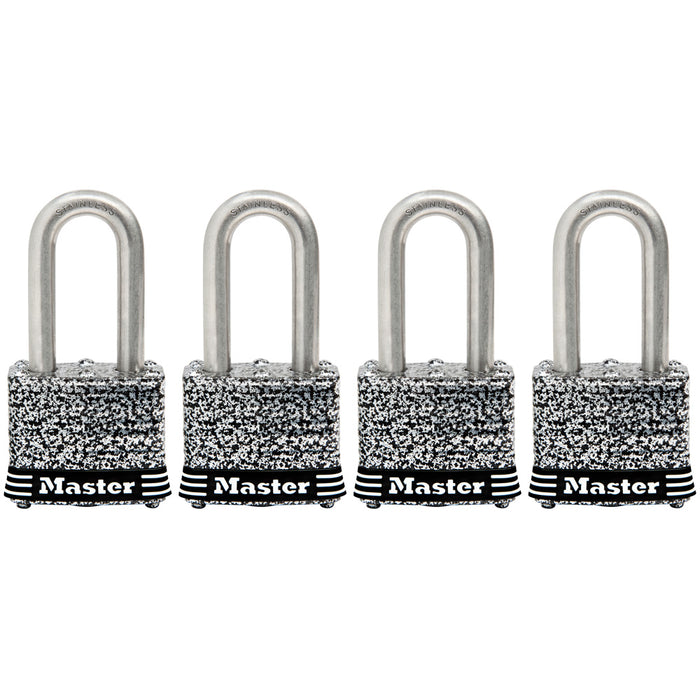 Master Lock 3SSQ 1-9/16in (40mm) Wide Laminated Stainless Steel Padlock with 1-1/2in (38mm) Shackle; 4 Pack