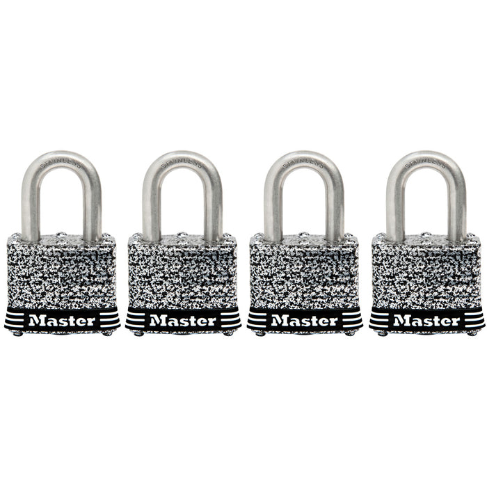 Master Lock 3SSQ Laminated Stainless Steel Padlock; 4 Pack 1-9/16in (40mm) Wide