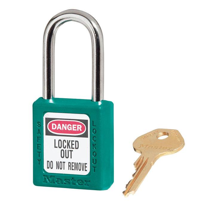 Model No. 410 Zenex™ Thermoplastic Safety Padlock, 1-1/2in (38mm) Wide with 1-1/2in (38mm) Tall Shackle, Keyed Alike
