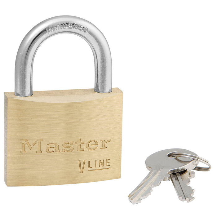 Master Lock 4150 V-Line Brass Padlock 1-7/8in (48mm) Wide