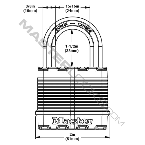Master Lock M5 2in (51mm) Wide Magnum® Laminated Steel Padlock-MasterLocks.com