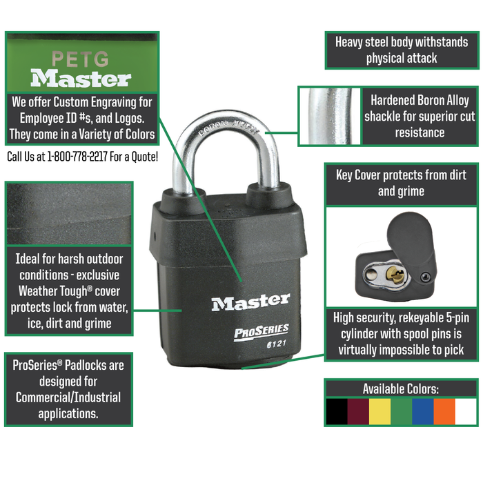 Master Lock 6121 ProSeries® Weather Tough® Laminated Steel Rekeyable Padlock 2-1/8in (54mm) Wide