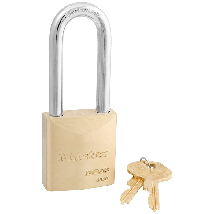 Master Lock 6850 ProSeries® Solid Brass Rekeyable Padlock 2in (51mm) Wide-Keyed-MasterLocks.com